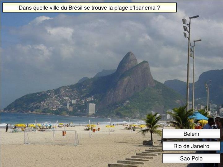 Dans quelle ville du Brésil se trouve la plage d'Ipanema ?