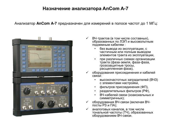 Назначение анализатора AnCom A-7