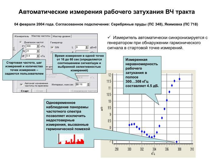 Автоматические измерения рабочего затухания ВЧ тракта
