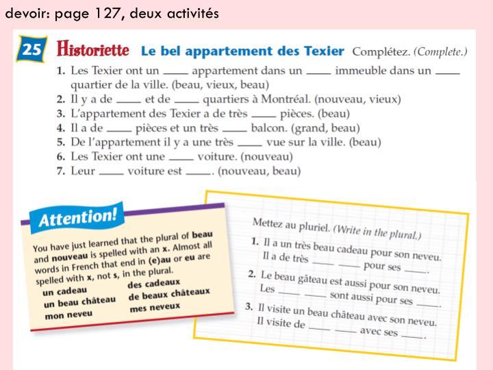 devoir: page 127, deux activités
