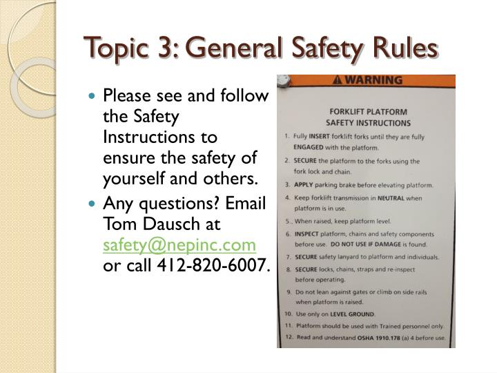 Topic 3: General Safety Rules