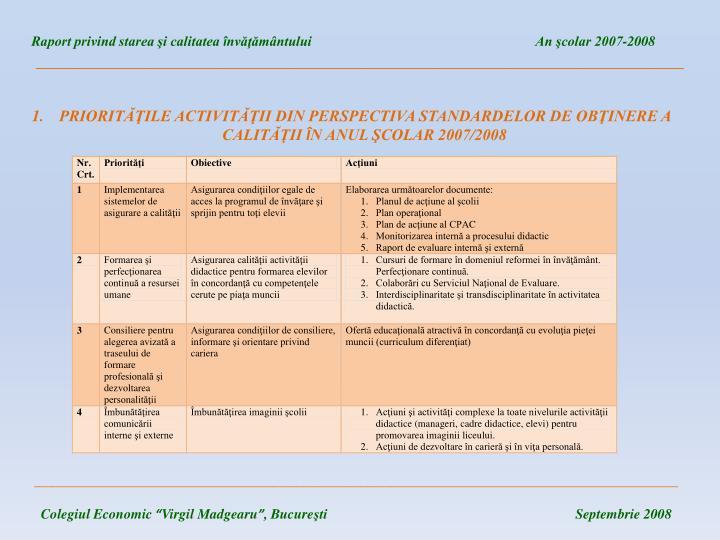 Raport privind starea şi calitatea