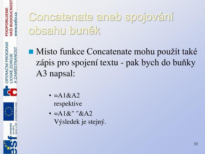 Concatenate aneb spojování obsahu buněk