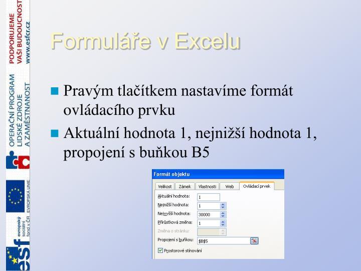 Formuláře v Excelu