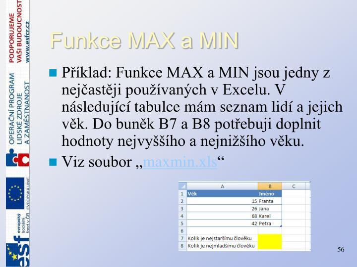 Funkce MAX a MIN