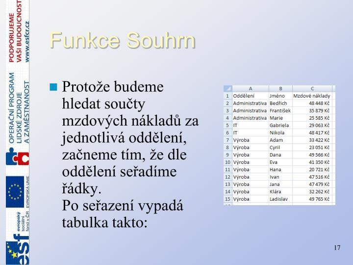 Funkce Souhrn