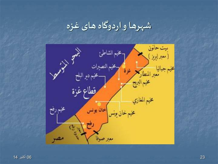 شهرها و اردوگاه های غزه