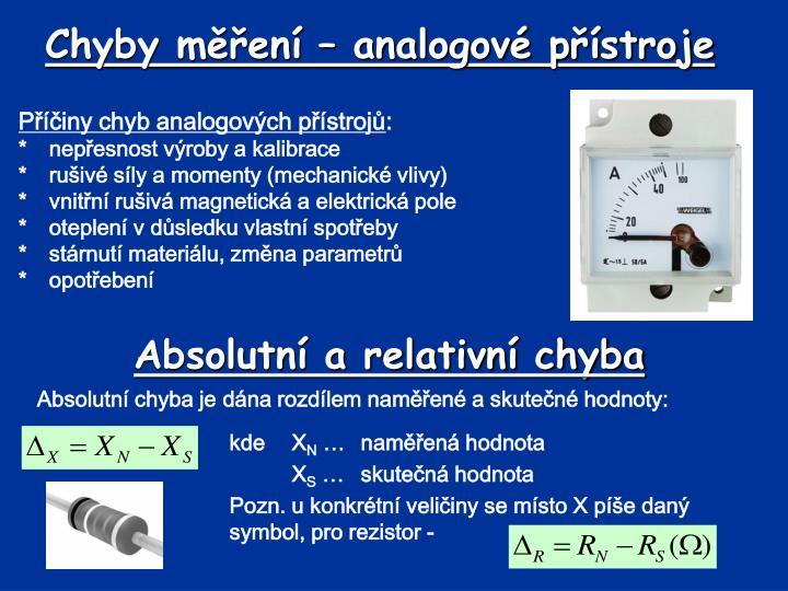 Chyby měření – analogové přístroje