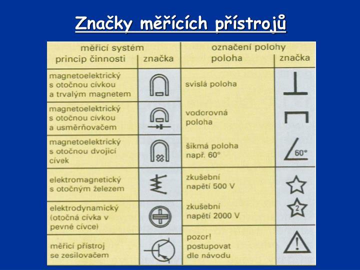 Značky měřících přístrojů