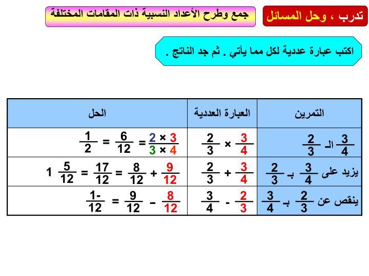 جمع وطرح الأعداد النسبية ذات المقامات المختلفة