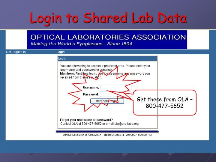 Login to Shared Lab Data