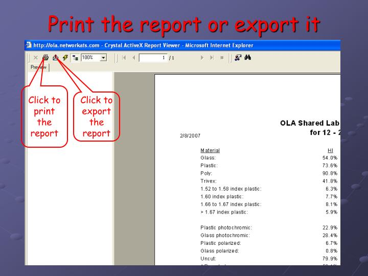 Print the report or export it