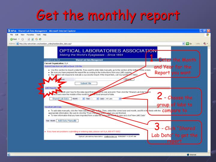 Get the monthly report