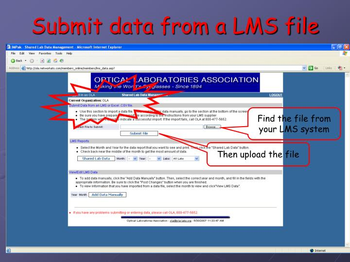 Submit data from a LMS file