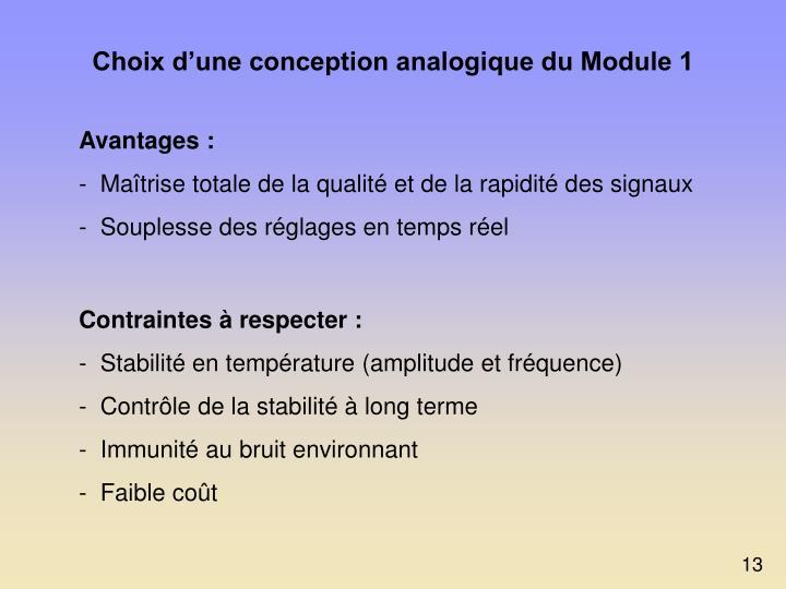 Choix d'une conception analogique du Module 1