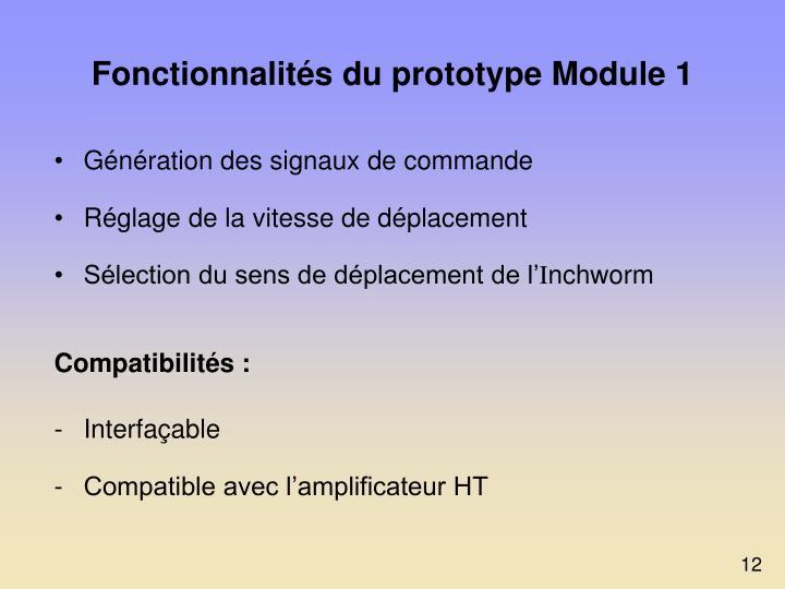 Fonctionnalités du prototype Module 1