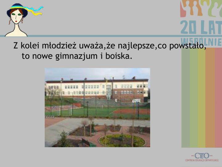 Z kolei młodzież uważa,że najlepsze,co powstało, to nowe gimnazjum i boiska.