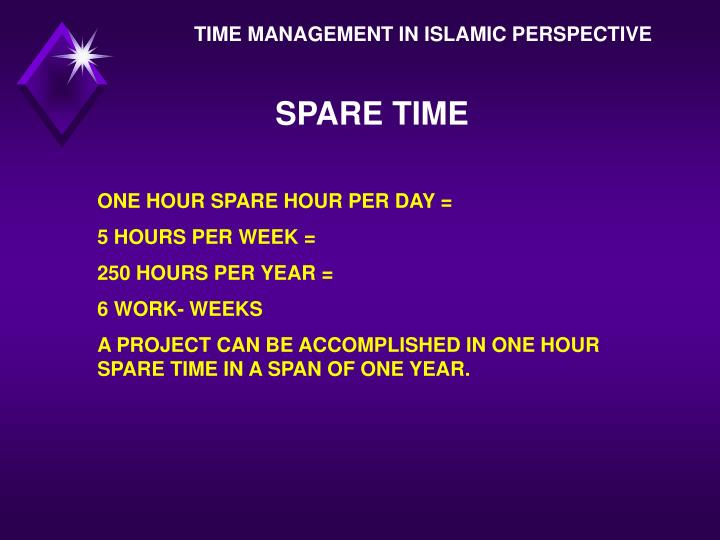 TIME MANAGEMENT IN ISLAMIC PERSPECTIVE