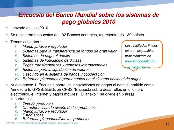 Encuesta del Banco Mundial sobre los sistemas de pago globales 2010