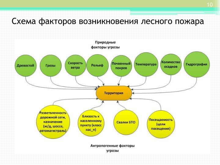 Схема факторов возникновения лесного пожара