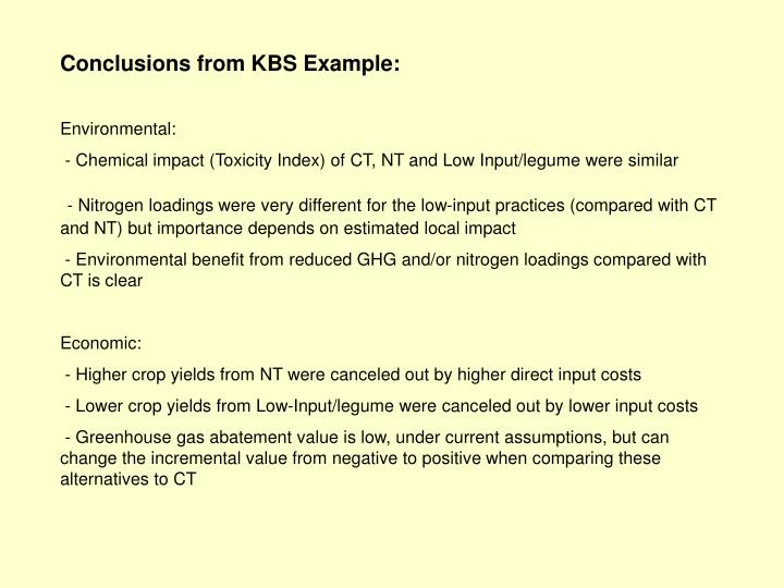 Conclusions from KBS Example: