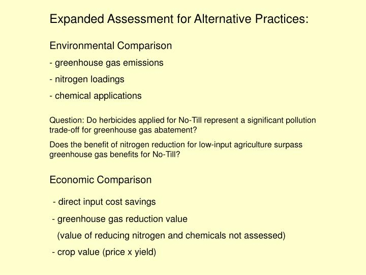 Expanded Assessment for Alternative Practices: