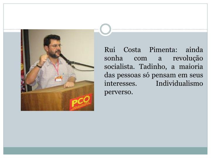 Rui Costa Pimenta: ainda sonha com a revolução socialista. Tadinho, a maioria das pessoas só pensam em seus interesses. Individualismo perverso.