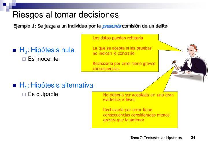 Riesgos al tomar decisiones