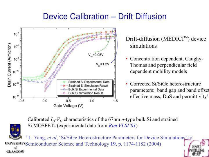 Device Calibration – Drift Diffusion