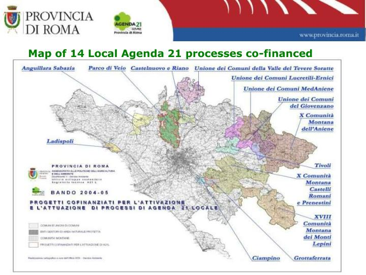 Map of 14 Local Agenda 21 processes co-financed