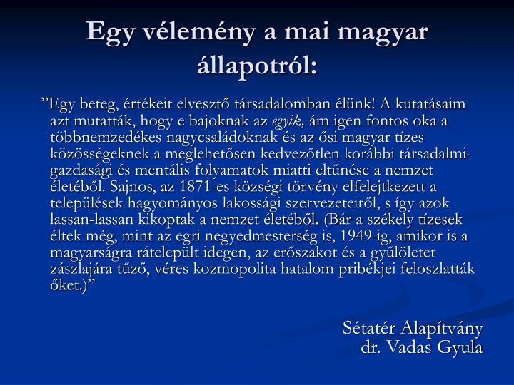 Egy vélemény a mai magyar állapotról: