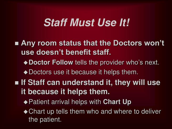 Staff Must Use It!