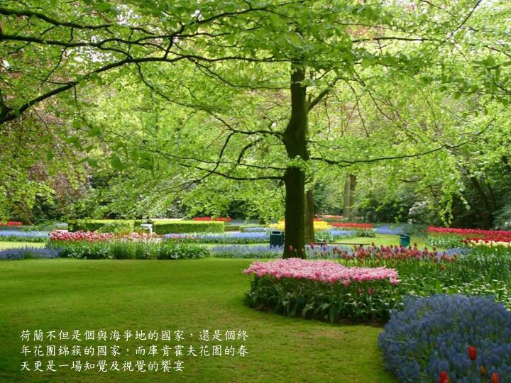荷蘭不但是個與海爭地的國家,還是個終年花團錦簇的國家,而庫肯霍夫花園的春天更是一場知覺及視覺的饗宴