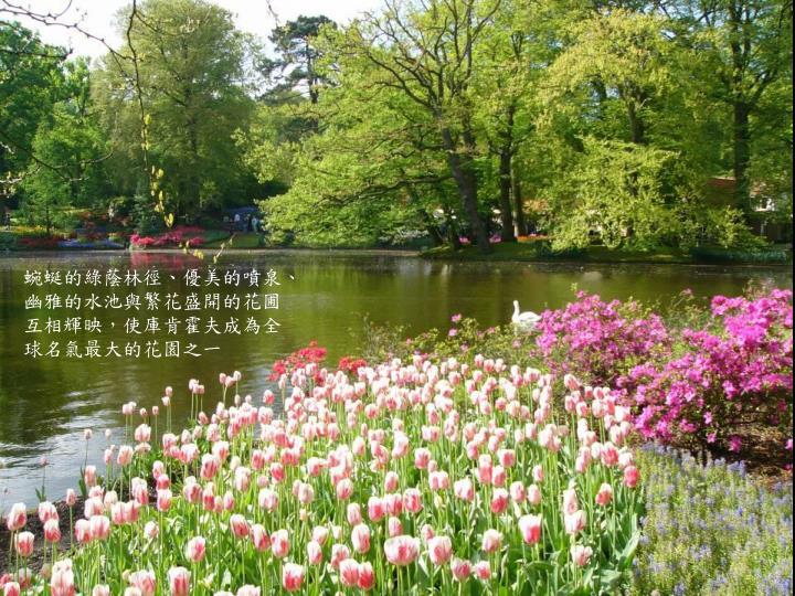 蜿蜒的綠蔭林徑、優美的噴泉、幽雅的水池與繁花盛開的花圃互相輝映,使庫肯霍夫成為全球名氣最大的花園之一