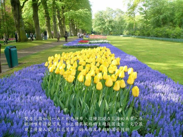 整座花園如同一大片彩色拼布,這種沉浸在花海的美景,在歐洲唯有荷蘭可見,加上獨具風格的主題庭園造景,充分展現了荷蘭人愛「拈花惹草」的天性及卓越的園藝技術