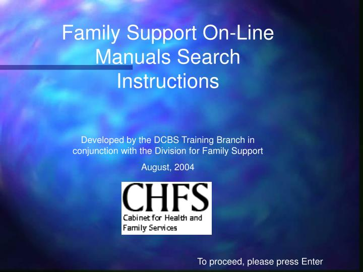 Family Support On-Line Manuals Search Instructions