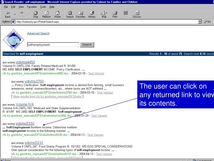 The user can click on any returned link to view its contents