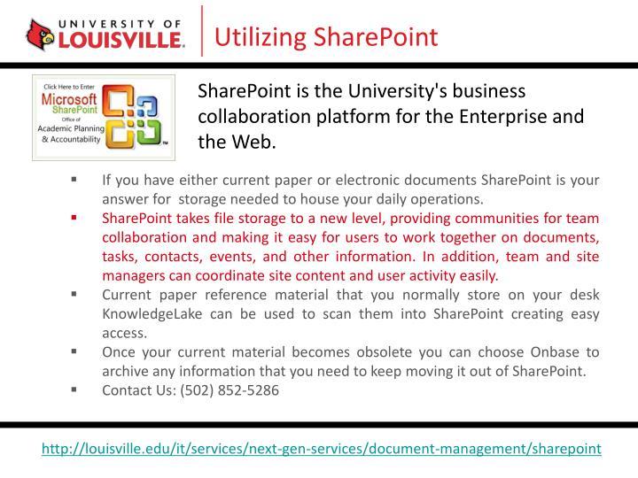 Utilizing SharePoint