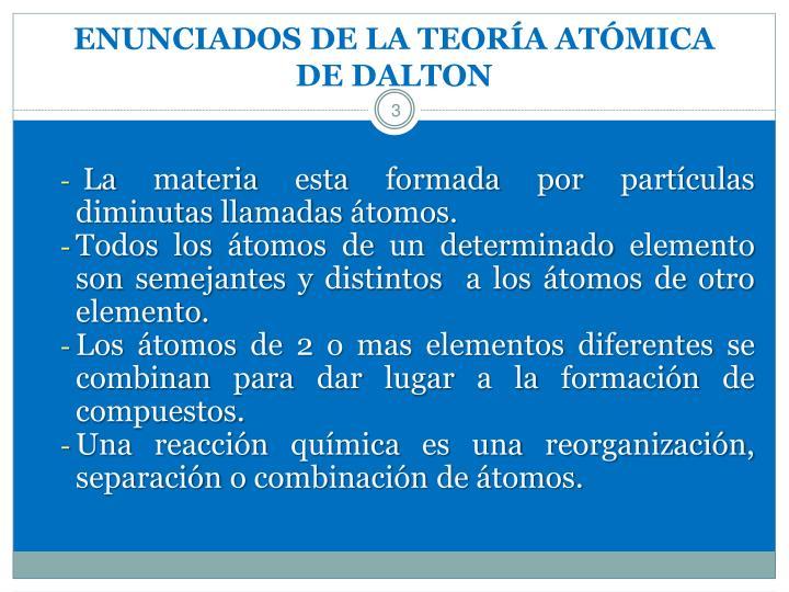 ENUNCIADOS DE LA TEORÍA ATÓMICA