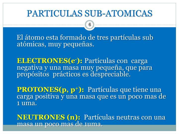 PARTICULAS SUB-ATOMICAS