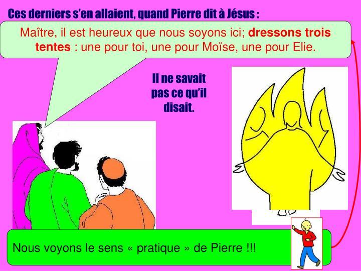Ces derniers s'en allaient, quand Pierre dit à Jésus :