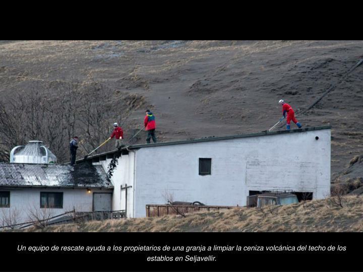 Un equipo de rescate ayuda a los propietarios de una granja a limpiar la ceniza volcnica del techo de los establos en Seljavellir.