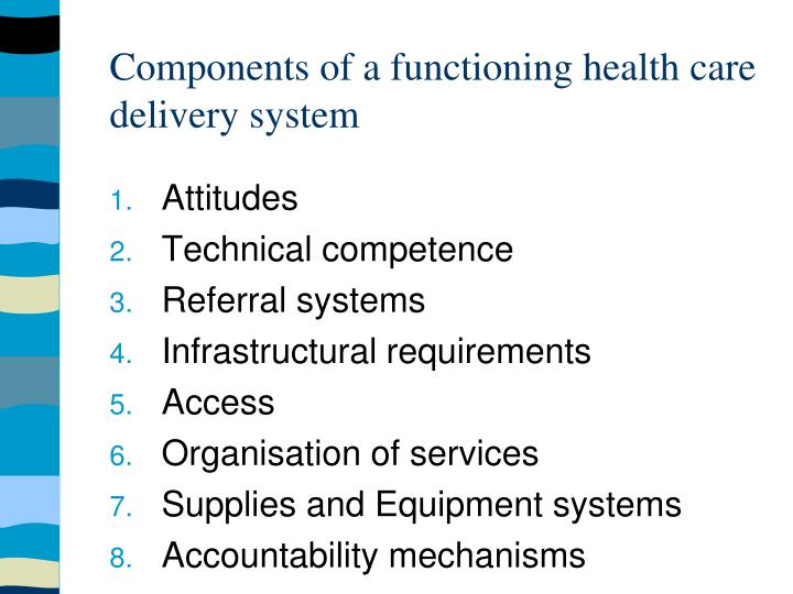 Components of a functioning health care delivery system