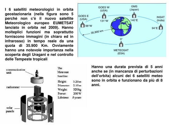 I 6 satelliti meteorologici in orbita geostazionaria (nella figura sono 5 perché non c'è il nuovo satellite Meteorologico europeo EUMETSAT lanciato in orbita nel 2009). Hanno molteplici funzioni ma soprattutto forniscono immagini (in chiaro ed in infrarosso) in tempo reale da una quota di 35.900 Km. Ovviamente hanno una notevole importanza nella scoperta degli Uragani e nel controllo delle Tempeste tropicali