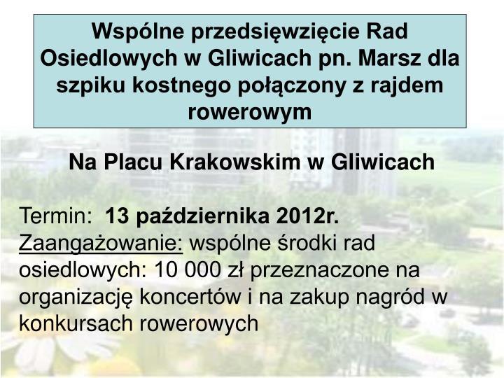 Wspólne przedsięwzięcie Rad Osiedlowych w Gliwicach pn. Marsz dla szpiku kostnego połączony z rajdem rowerowym
