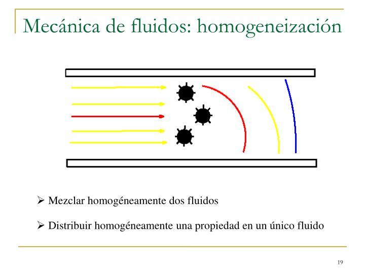 Mecánica de fluidos: homogeneización