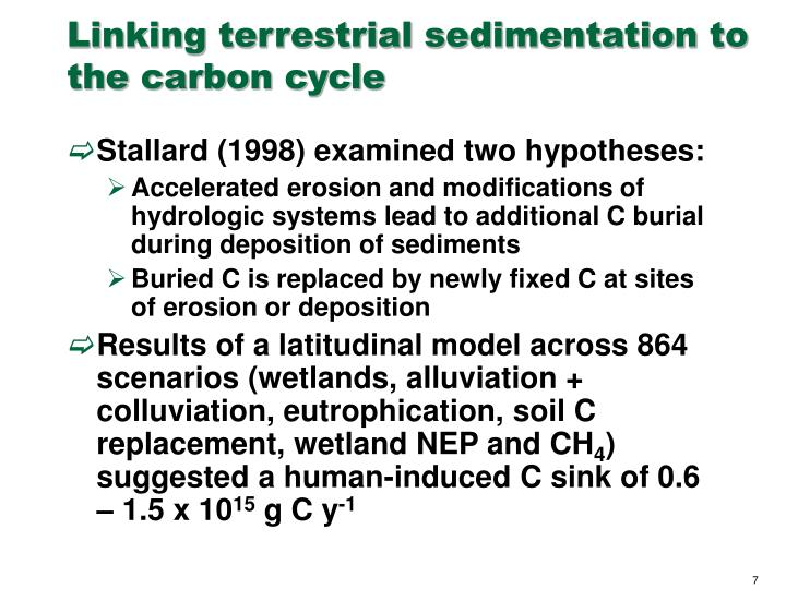 Linking terrestrial sedimentation to the carbon cycle