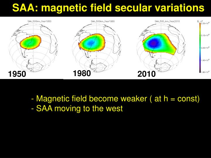 SAA: magnetic field secular variations