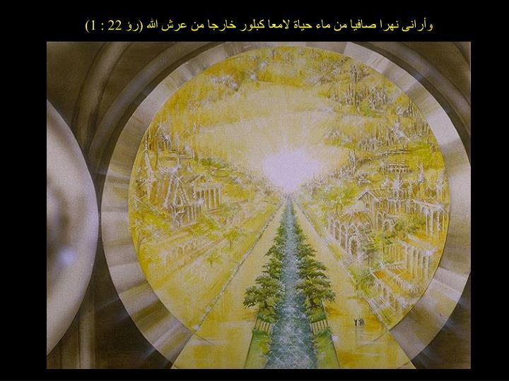 وأرانى نهرا صافيا من ماء حياة لامعا كبلور خارجا من عرش الله (رؤ 22 : 1)