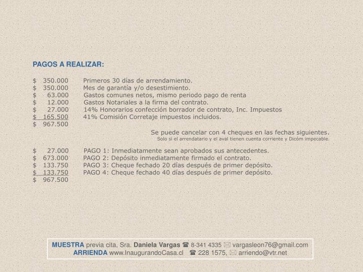 PAGOS A REALIZAR: